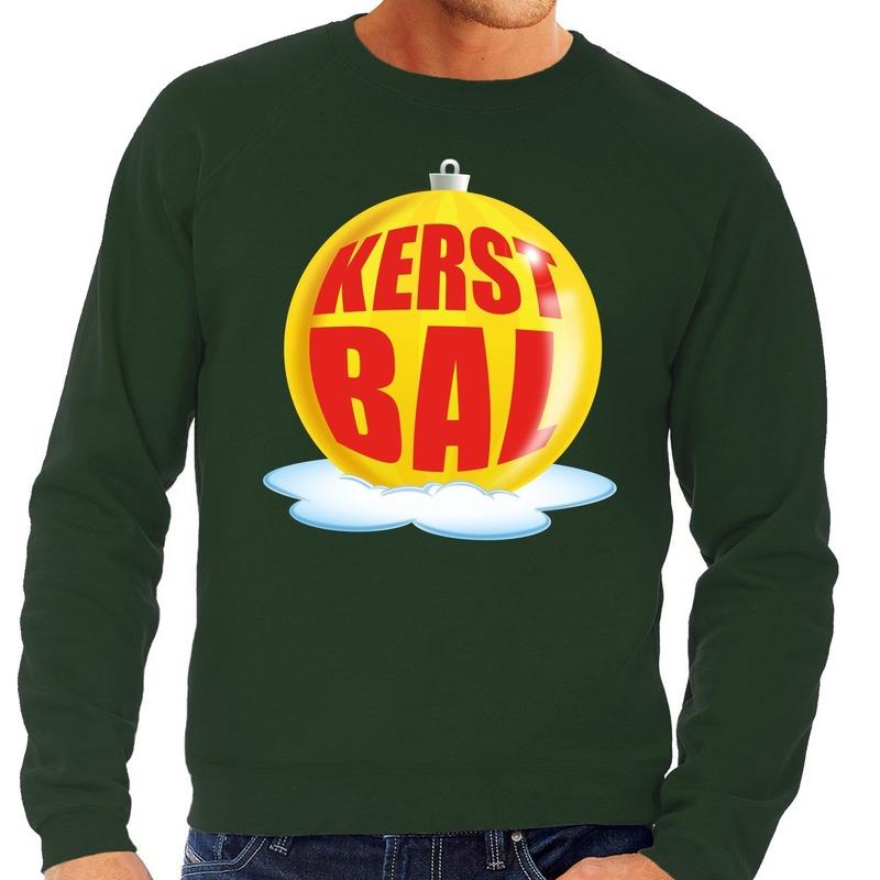 Foute feest kerst sweater met gele kerstbal op groene sweater voor heren S (48) Groen