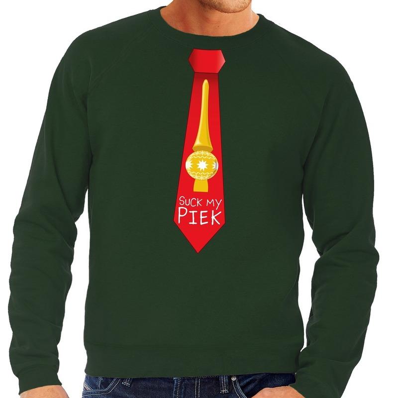 Foute kerst sweater met suck my piek stropdas groen voor heren S (48) Groen