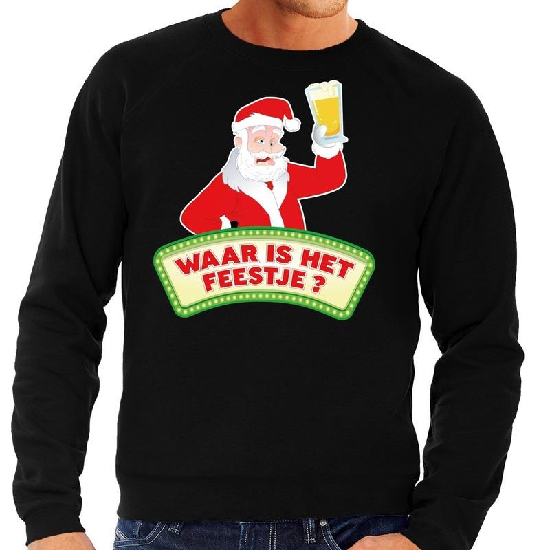 Foute kerst sweater zwart dronken Kerstman met bier heren 2XL (56) Zwart