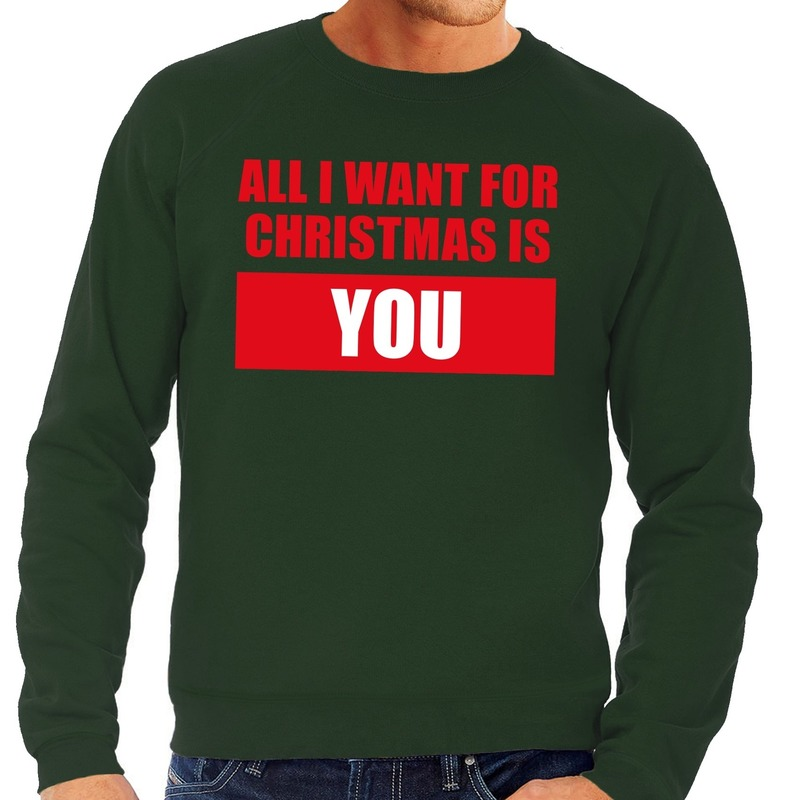 Foute kerstborrel trui groen All I Want Is You heren 2XL (56) Groen