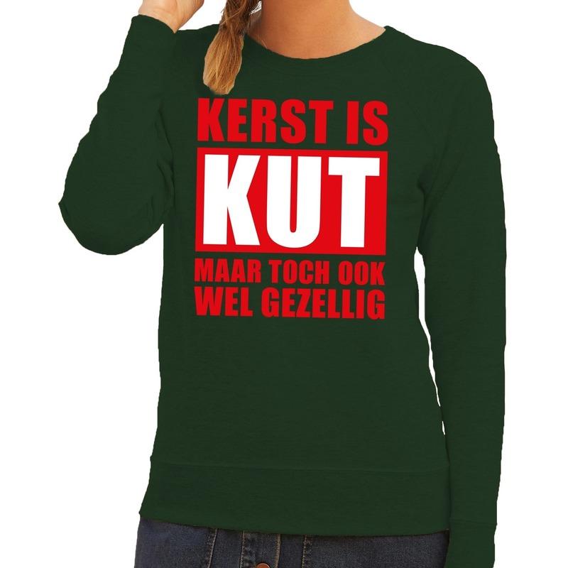 Foute kerstborrel trui groen Kerst is kut maar ook gezellig groen dames XS (34) Groen
