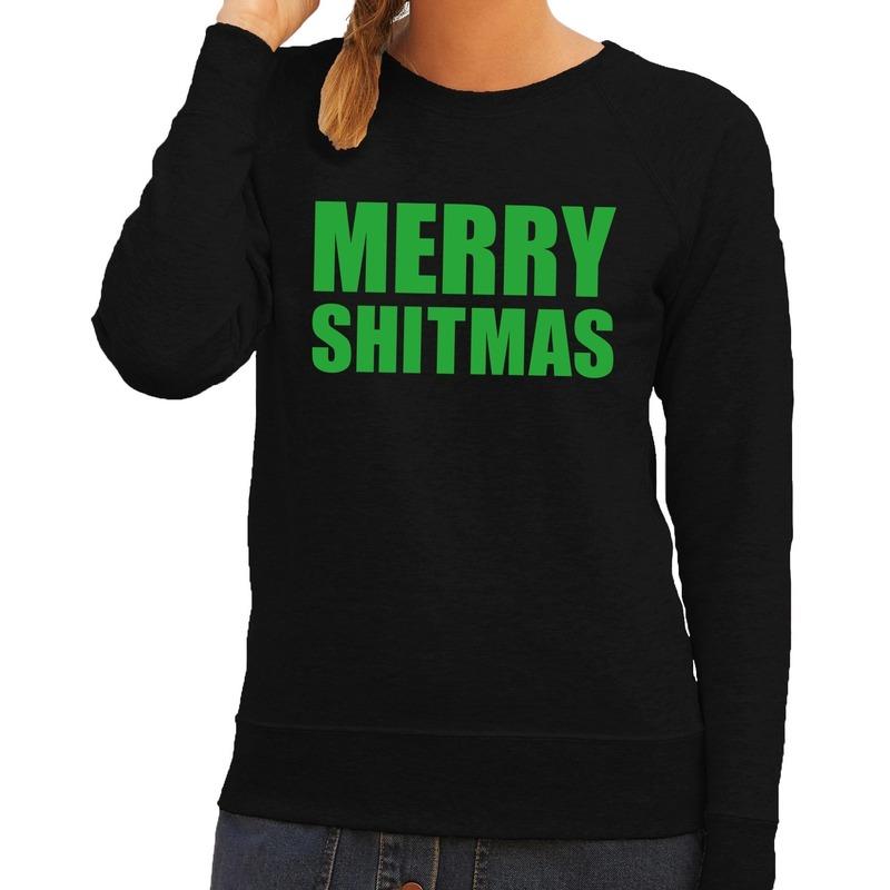 Foute kerstborrel trui zwart Merry Shitmas dames L (40) Zwart