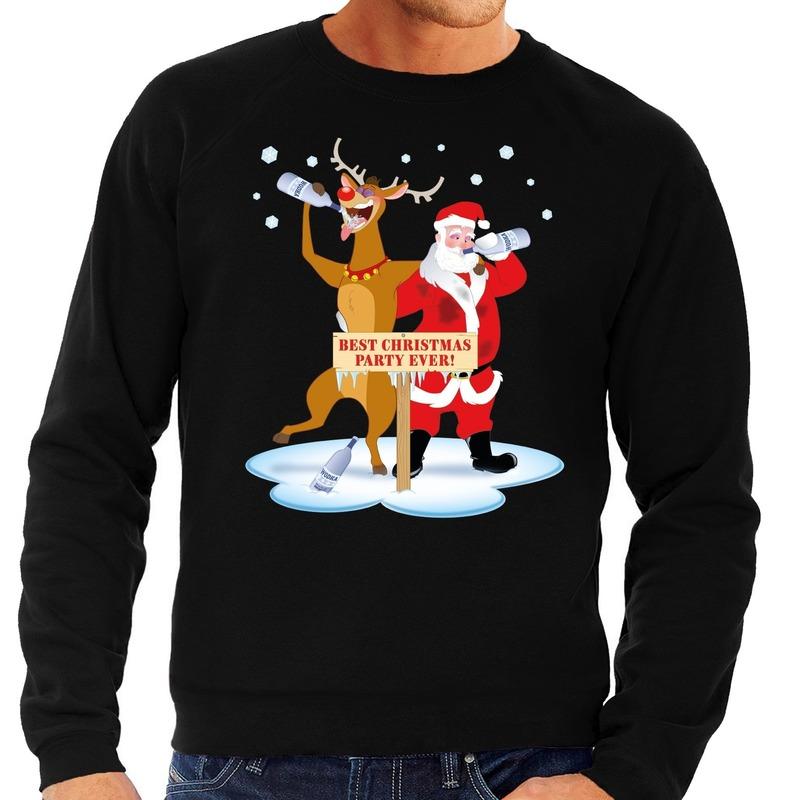 Foute Kersttrui Maat 80.Foute Kersttrui Zwart Met Een Dronken Kerstman En Rudolf Voor Heren
