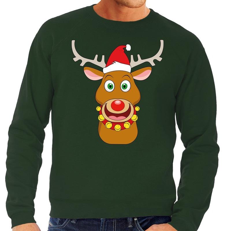 Foute kersttrui groen met Ruldolf het rendier met rode muts voor heren M (50) Groen