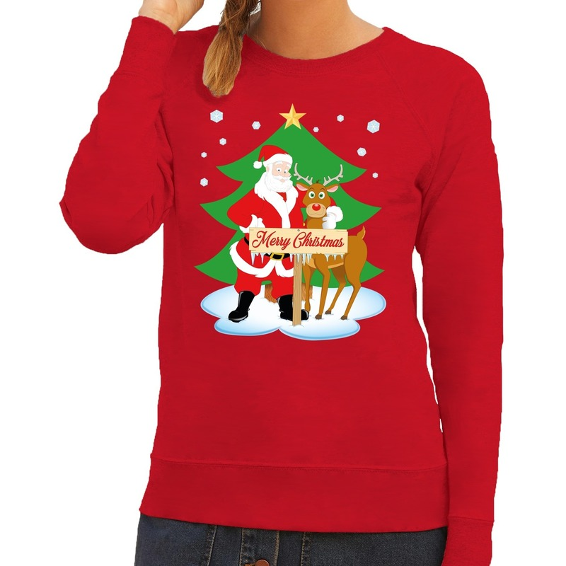 Kersttrui Fout.Foute Kersttrui Rood Met De Kerstman En Rudolf Voor Dames Fun En Feest