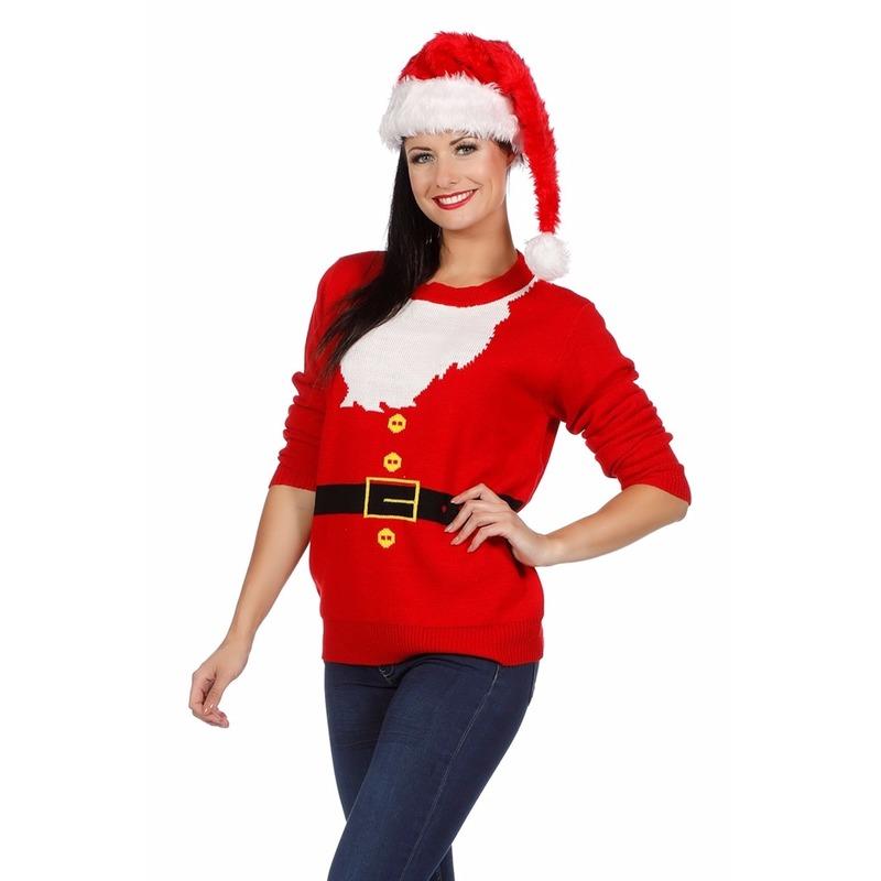 Foute kersttrui Kerstmannen pak voor dames Multi