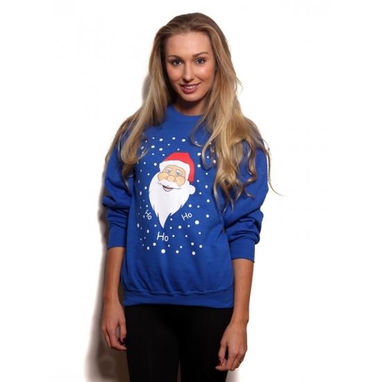 Foute kersttrui met kerstman 2XL Blauw