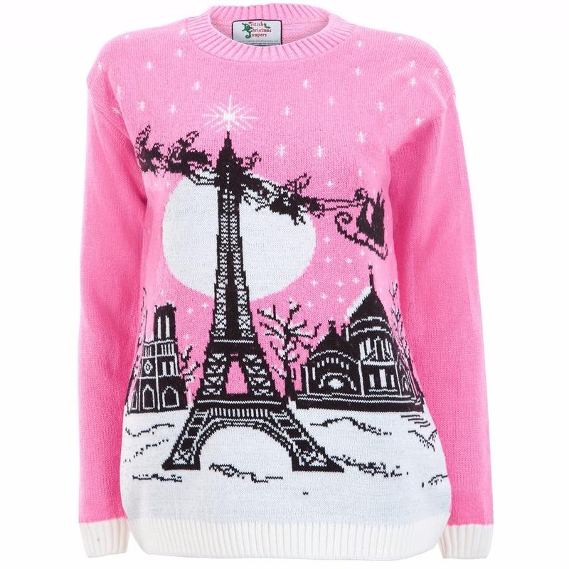Foute kersttrui Paris voor dames S (36) Roze