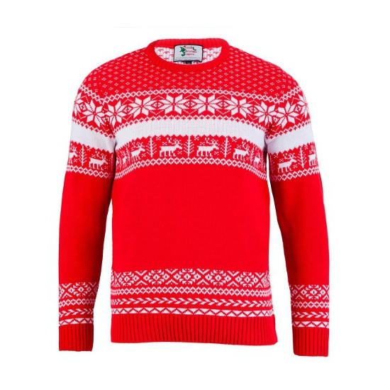 Foute kersttrui The Red Nordic voor heren 2XL Rood