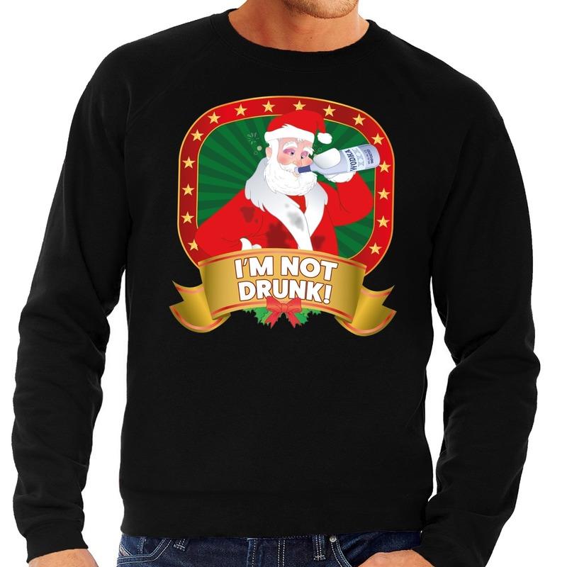 Foute kersttrui zwart dronken Kerstman met drankfles heren L (52) Zwart
