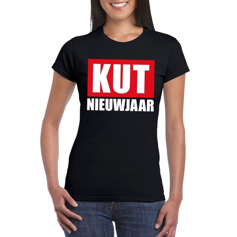 Foute oud en nieuw t-shirt kut nieuwjaar zwart voor dames XS Zwart