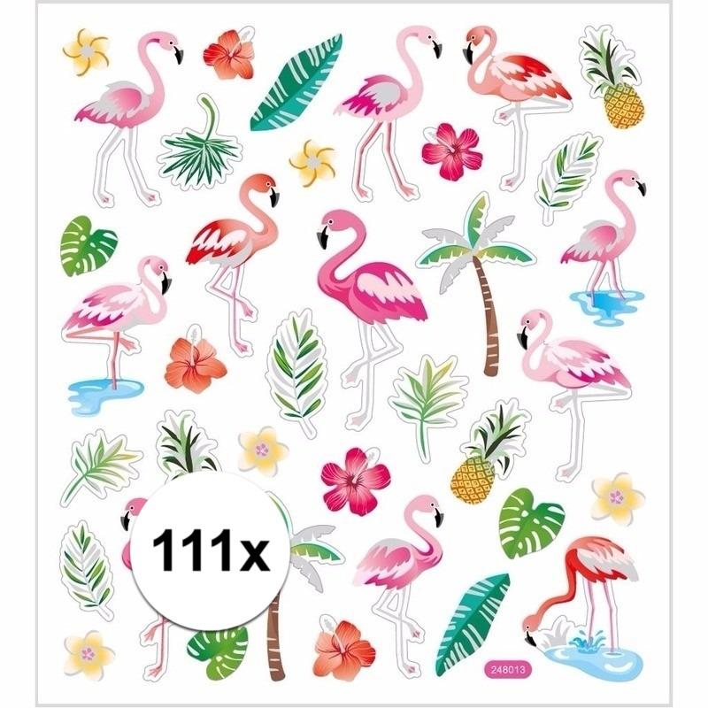 Gekleurde flamingo stickers 111 stuks Multi