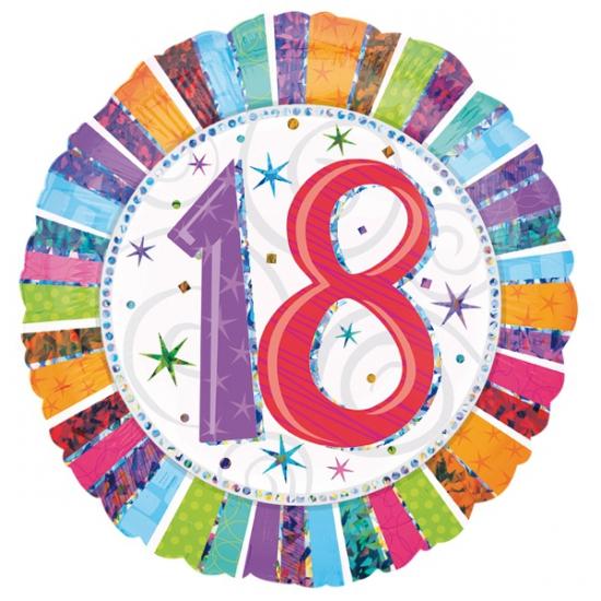 Gekleurde folie ballon 18 jaar