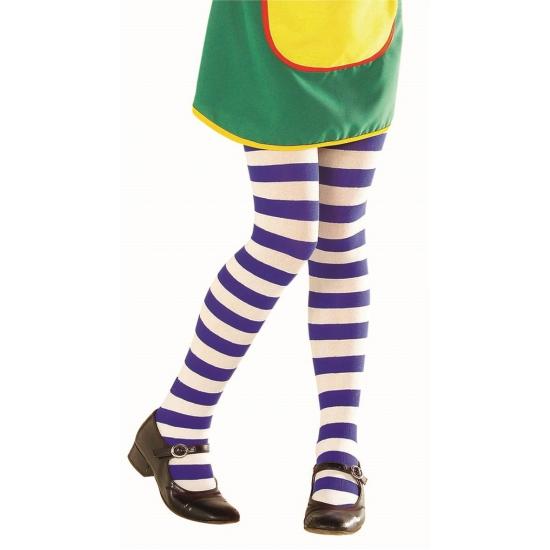 Gestreepte panty voor kinderen blauw/wit