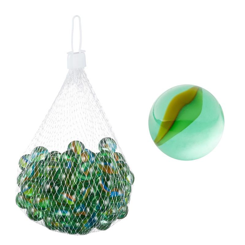 Glazen knikkers speelgoed 101 stuks groen