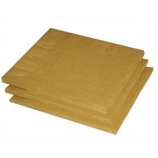 Gouden servetten 33x33 cm 20 stuks Goudkleurig