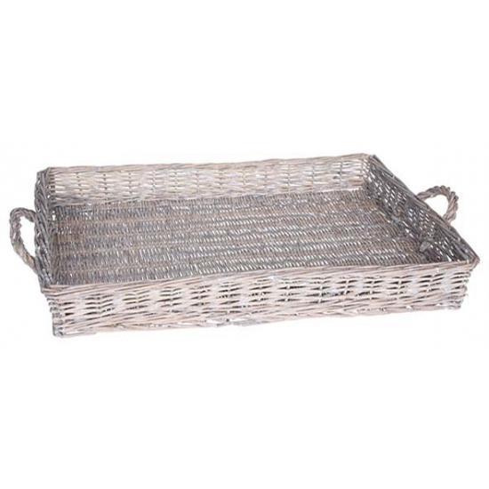 Grey wash dienblad met handvaten 59 cm Grijs