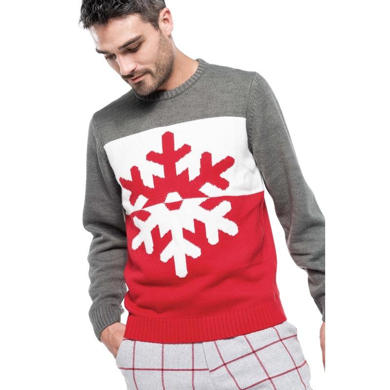 Grijs/rode foute/lelijke gebreide kersttrui met sneeuwvlok print voor heren/volwassenen XS (34/46) M