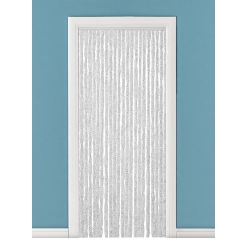 Grijs/wit anti insecten kattenstaarten gordijn 90 x 220 cm