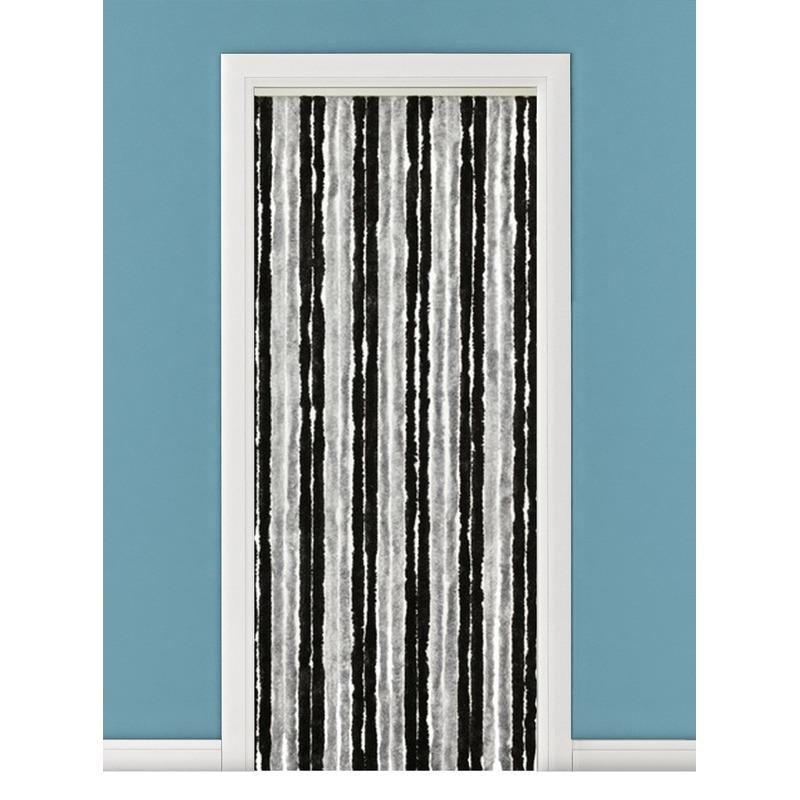 Grijs/zwart anti insecten kattenstaarten gordijn 90 x 220 cm