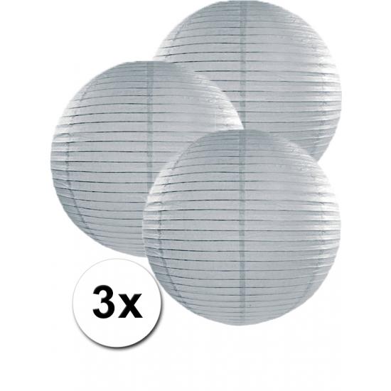 Grijze lampionnen 35 cm 3 stuks