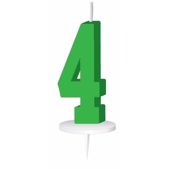 Groen taart kaarsje cijfer 4