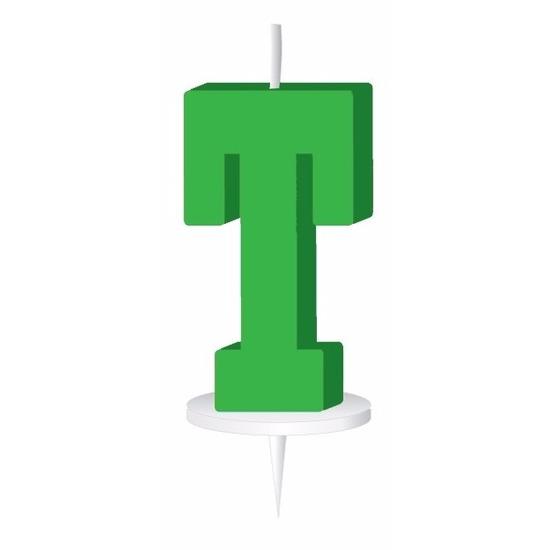 Groen taart kaarsje letter T