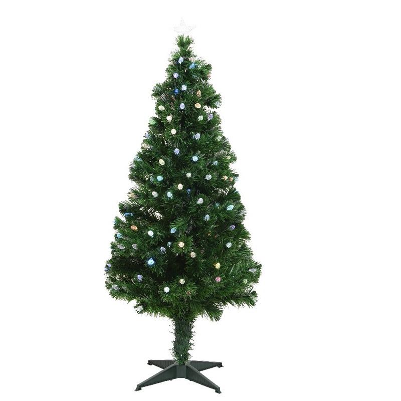 Groene glasvezel kunstkerstboom 120 cm met 129 LED lampjes Groen