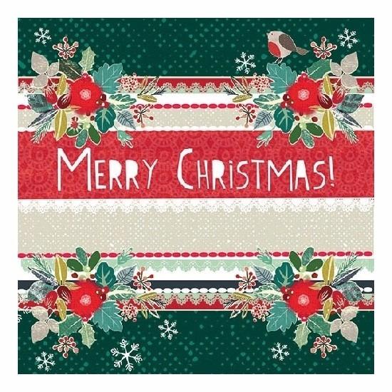 Groene Merry Christmas servetten 20 stuks Multi
