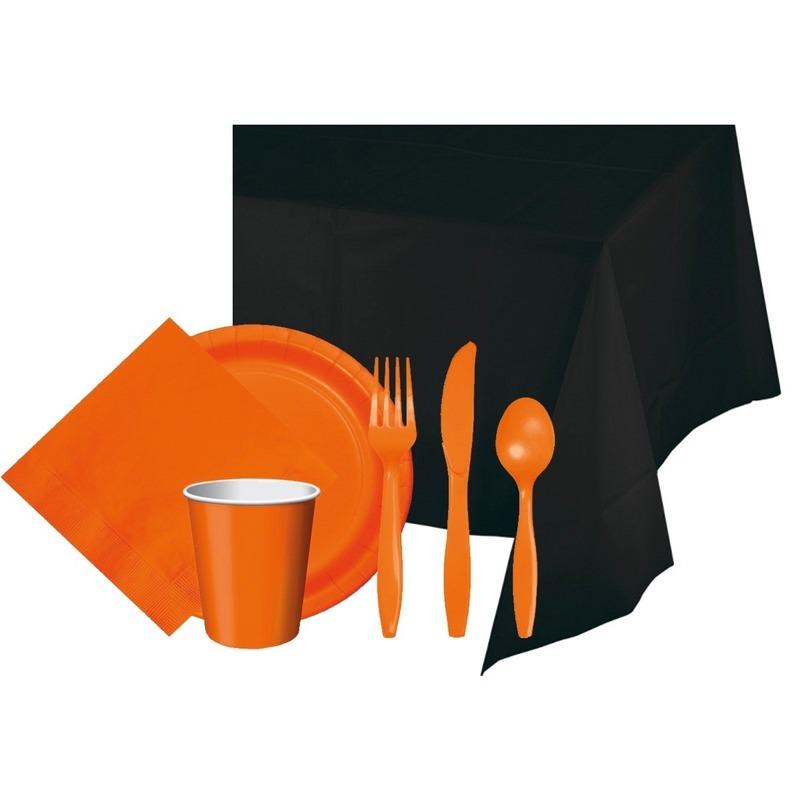 Halloween zwart/oranje versiering pakket Multi
