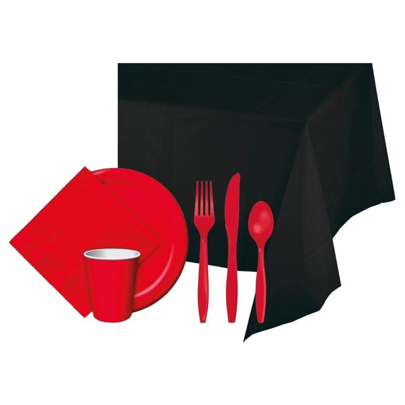Halloween zwart/rood versiering pakket
