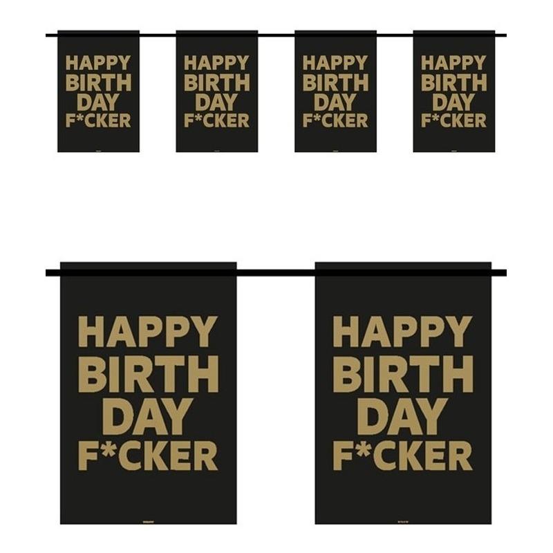 Happy Birthday F*cker 6m slingers verjaardag Zwart