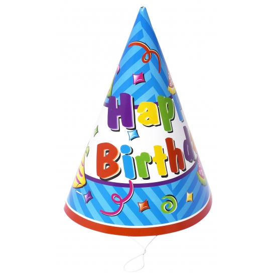 Happy Birthday feesthoedjes 6 stuks Multi