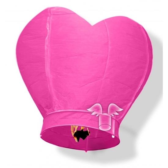 Hartvormige wensballon roze 100 cm