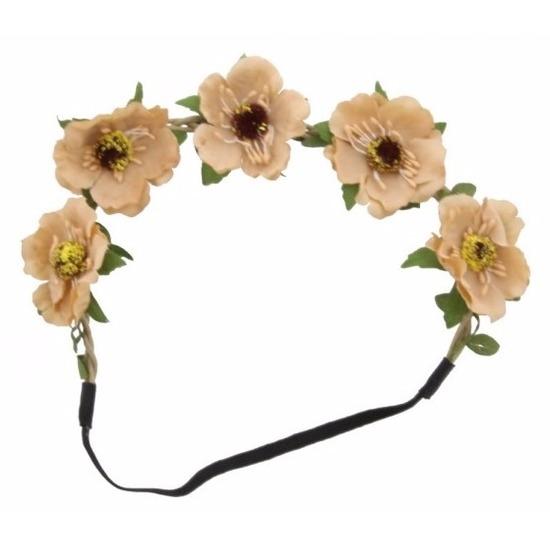 Hawaii haarbanden met beige bloemen