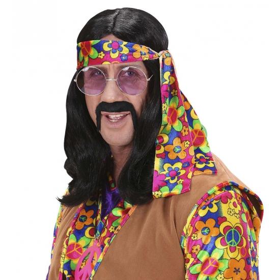 Hippie herenpruik Zwart