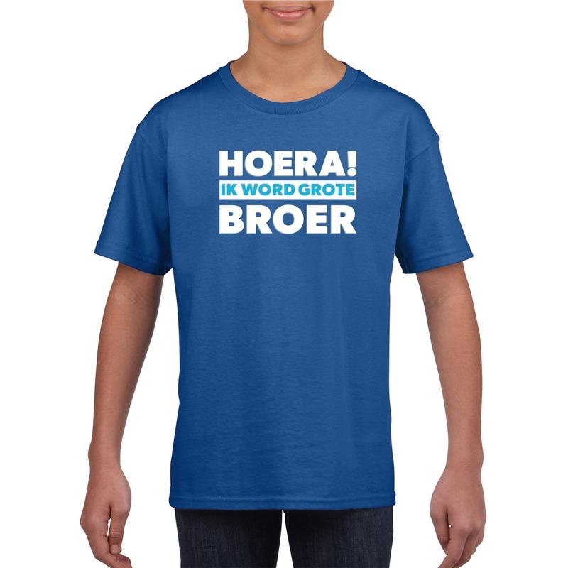 Hoera ik word grote broer shirt blauw jongens