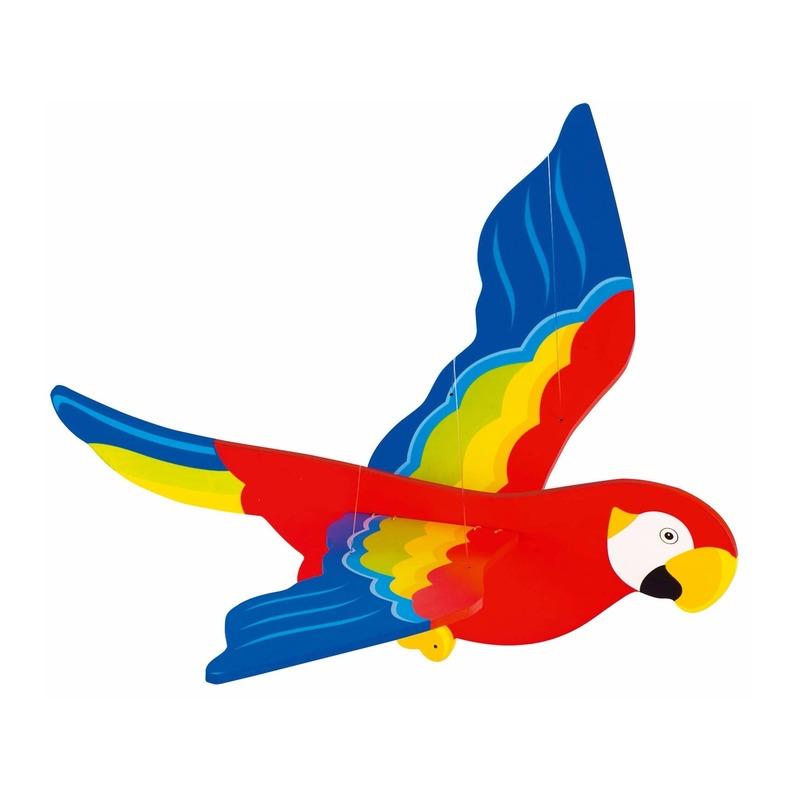 Houten hangdecoratie papegaai 56 cm Multi