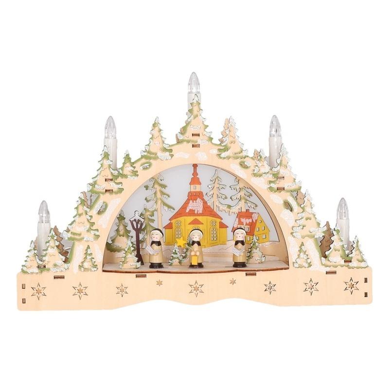 Houten kaarsenbrug met kerk 35 cm Multi
