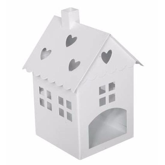 Huisjes lantaarn nieuwe woning cadeau wit 21 cm