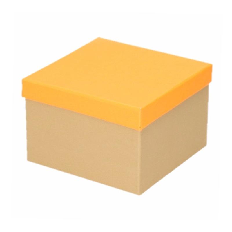 Kado doosjes naturel/neon oranje 15 cm rechthoek Roze