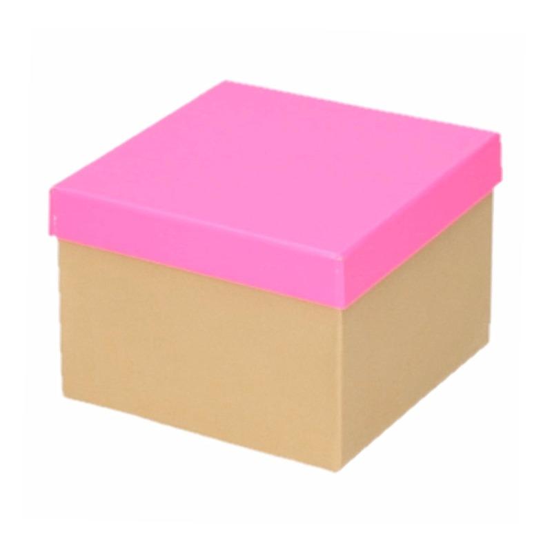 Kado doosjes naturel/neon roze 15 cm rechthoek