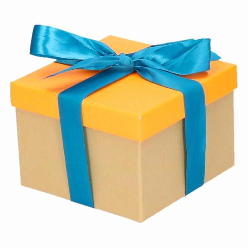 Kado doosjes neon oranje met blauwe strik 15 cm vierkant