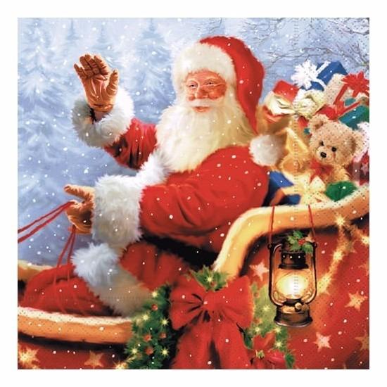 Kerst servetten met kerstman opdruk Multi