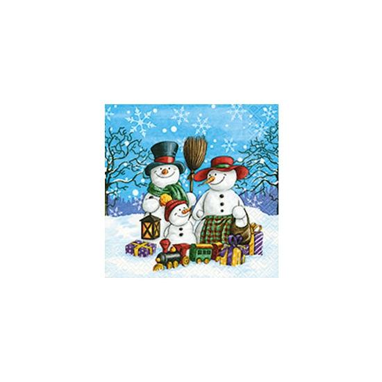 Kerst servetten met sneeuwpoppen Multi