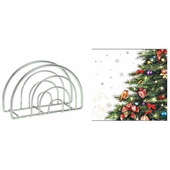 Kerst servettenhouder inclusief 20 kerstboom servetten rood Multi
