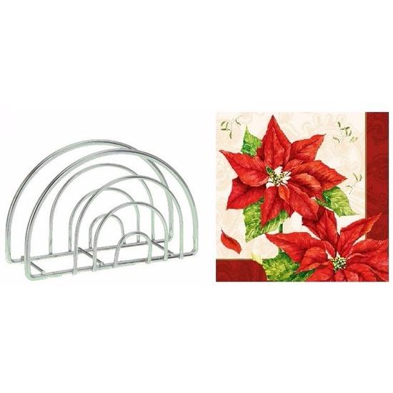 Kerst servettenhouder inclusief 20 kerstster servetten rood Multi
