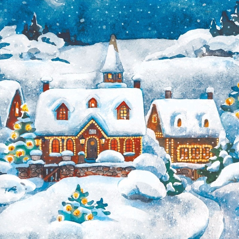 Kerst tafel servetten 33 x 33 cm kerst landschap