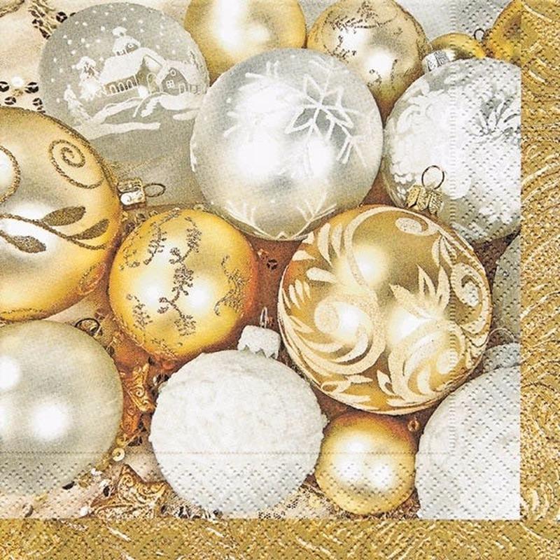 Kerstbal servetten goud 20 stuks Multi