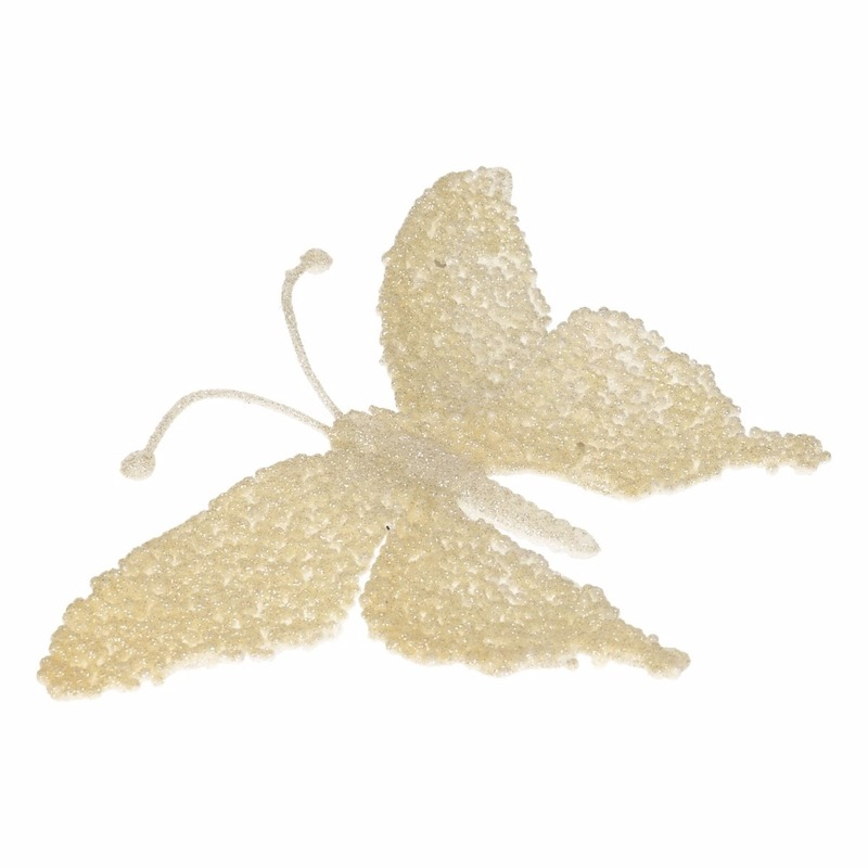 Kerstboom decoratie vlinder creme Creme